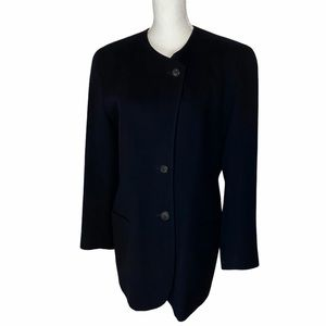 Bogner Black Lambswool Angora Blazer Jacket US 12